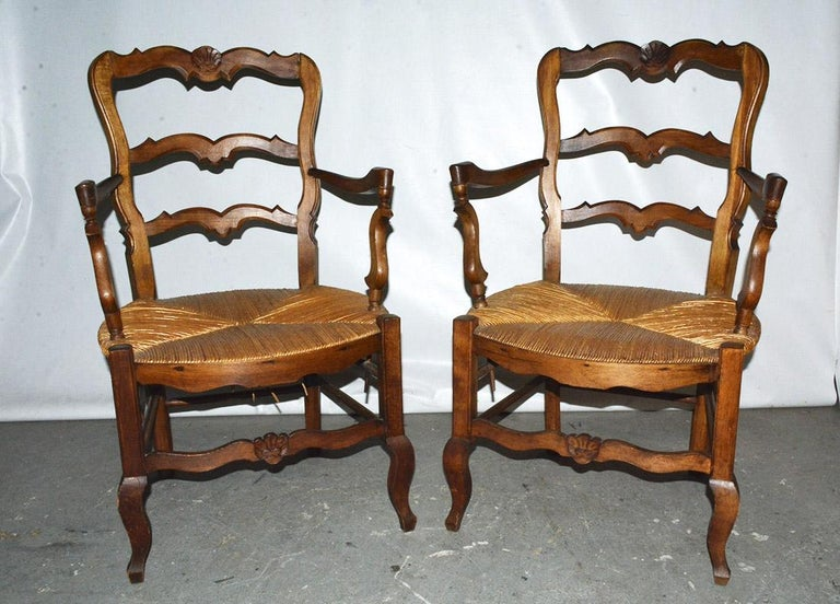 French Pair of Country Louis XV Style Ladder Back Armchairs For Sale