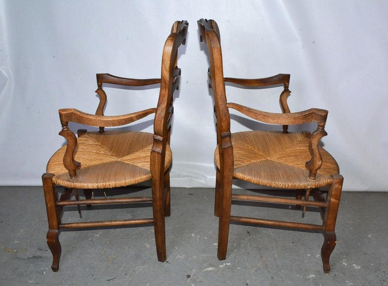 Carved Pair of Country Louis XV Style Ladder Back Armchairs For Sale