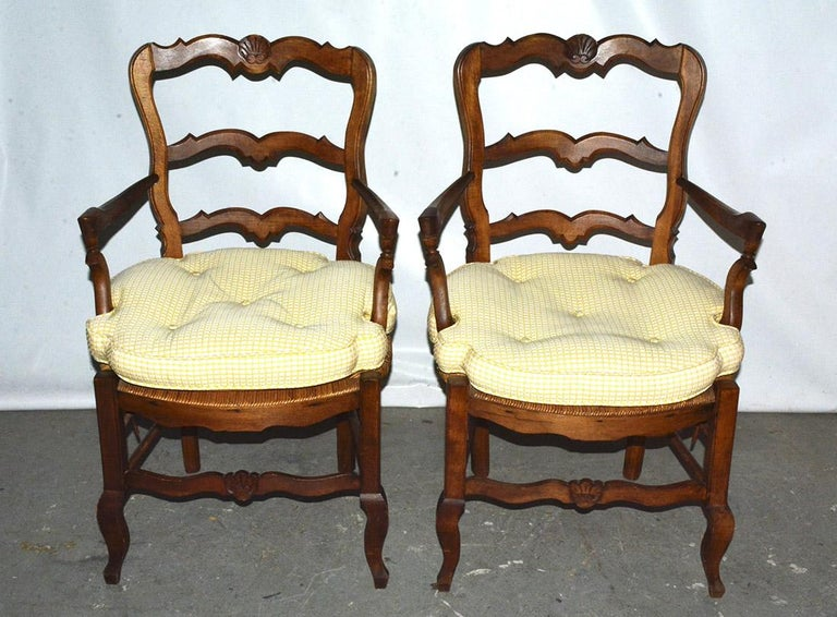 Pair of Country Louis XV Style Ladder Back Armchairs In Good Condition For Sale In Great Barrington, MA