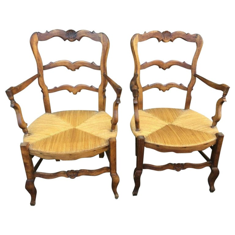 Pair of Country Louis XV Style Ladder Back Armchairs For Sale