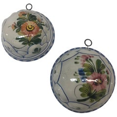 Pair of Crackled Porcelain Decorative Wall Molds