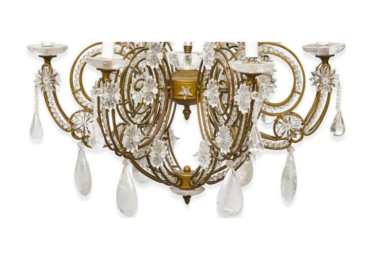 Hand-Carved Pair of Crystal and Rock Crystal Chandeliers For Sale