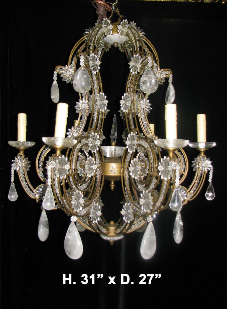 Pair of Crystal and Rock Crystal Chandeliers In Excellent Condition For Sale In Cypress, CA