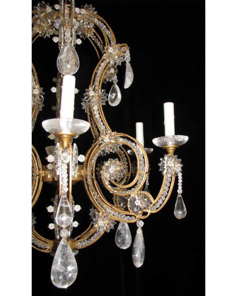 Contemporary Pair of Crystal and Rock Crystal Chandeliers For Sale