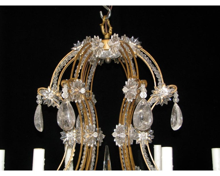 Pair of Crystal and Rock Crystal Chandeliers For Sale 1