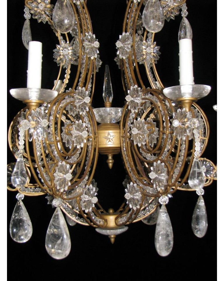 Pair of Crystal and Rock Crystal Chandeliers For Sale 2