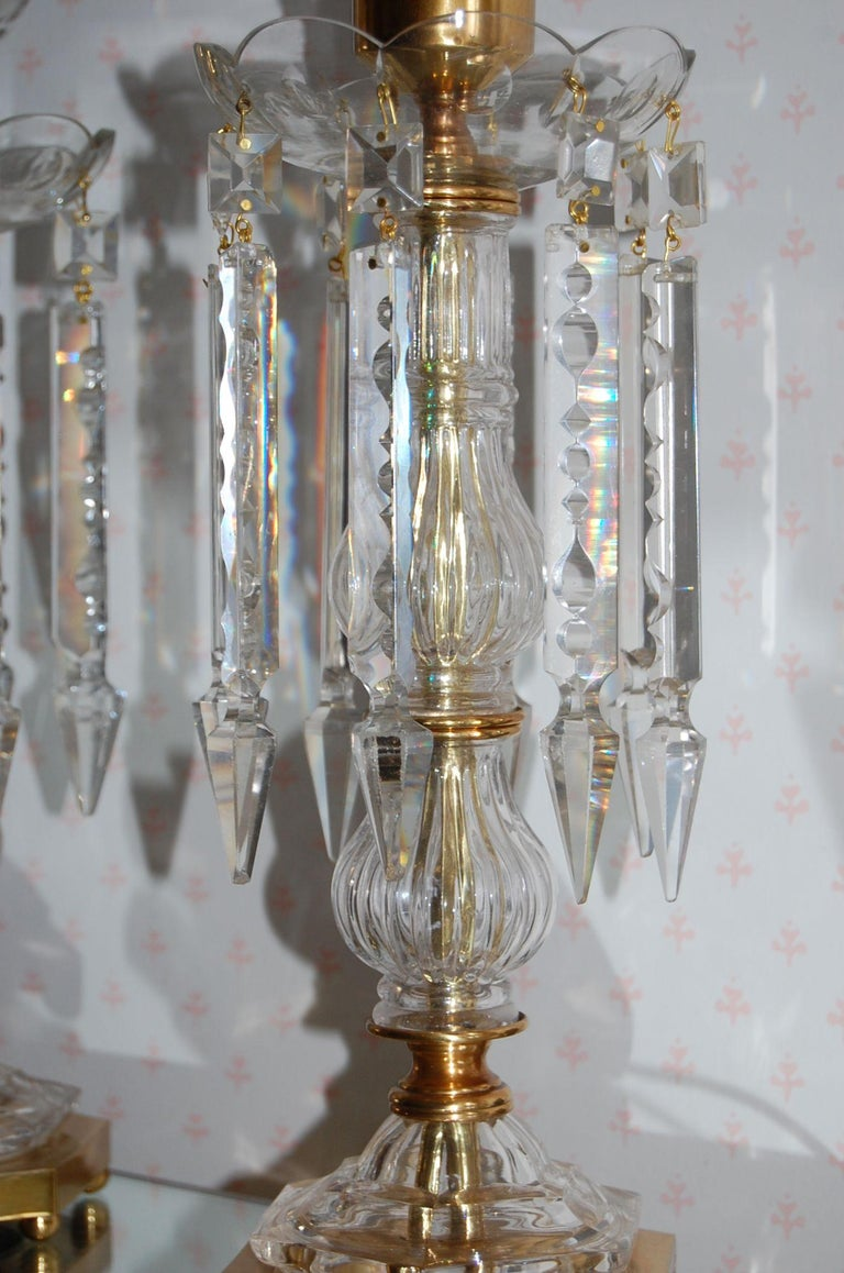 Pair of Crystal Mantel Garnatures with Long Crystal Drops, 20th Century For Sale 3