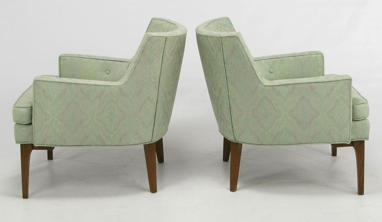American Pair of Curved Back Club Chairs with Button Tufted Upholstery For Sale