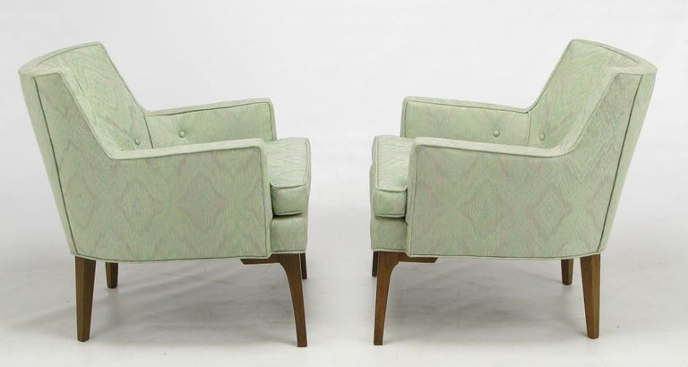 Mid-20th Century Pair of Curved Back Club Chairs with Button Tufted Upholstery For Sale