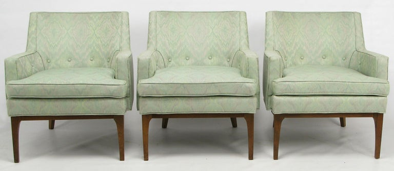 Pair of Curved Back Club Chairs with Button Tufted Upholstery For Sale 1