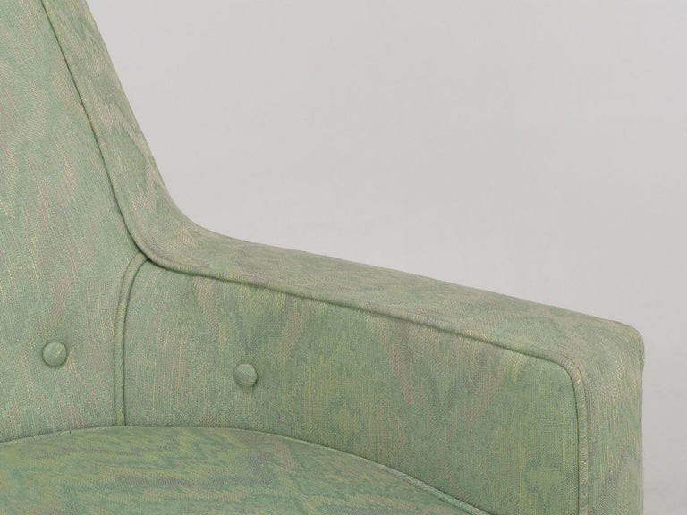 Pair of Curved Back Club Chairs with Button Tufted Upholstery For Sale 2
