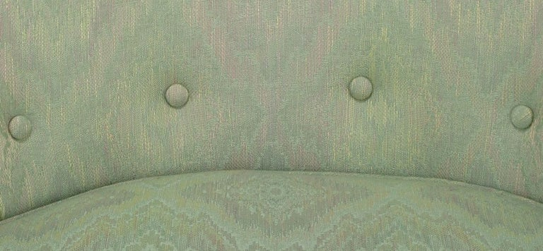 Pair of Curved Back Club Chairs with Button Tufted Upholstery For Sale 3