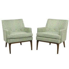 Pair of Curved Back Club Chairs with Button Tufted Upholstery
