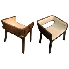 Mahogany Framed Pair of Curved Back Side Chairs, France, 1940s