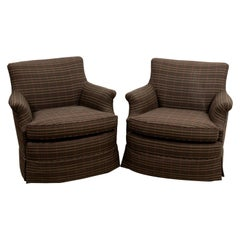 Pair Custom Club Chairs by Greenbaum Interiors