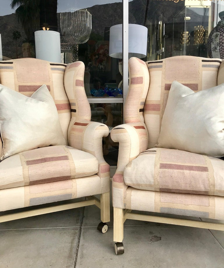 American Pair Custom Hand Painted Raw Silk Vintage Modern Wing Back Chairs For Sale