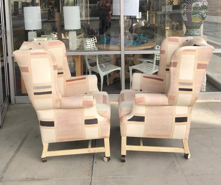 Pair Custom Hand Painted Raw Silk Vintage Modern Wing Back Chairs In Excellent Condition For Sale In Palm Springs, CA