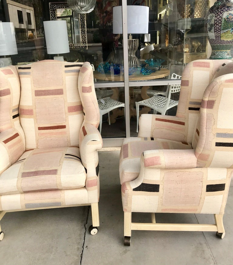 Late 20th Century Pair Custom Hand Painted Raw Silk Vintage Modern Wing Back Chairs For Sale