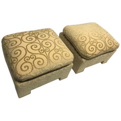 Pair of Custom Made Damask Velvet Ottomans