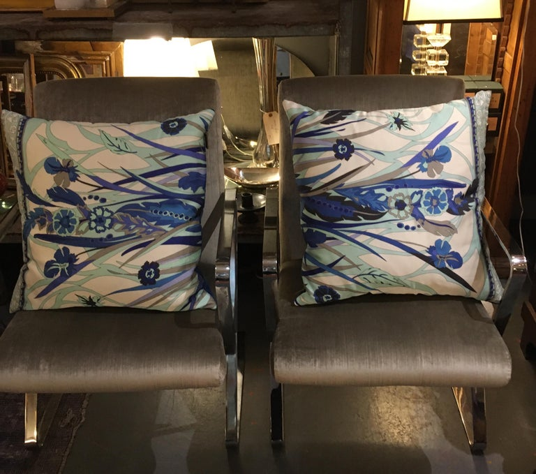 Pair of Custom Vintage Silk Emilio Pucci Pillows For Sale 7