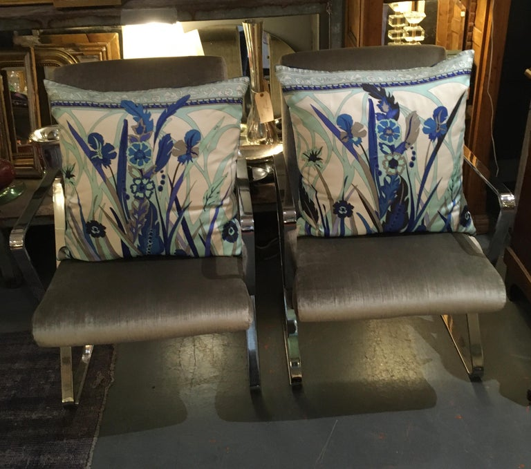 Pair of Custom Vintage Silk Emilio Pucci Pillows For Sale 8