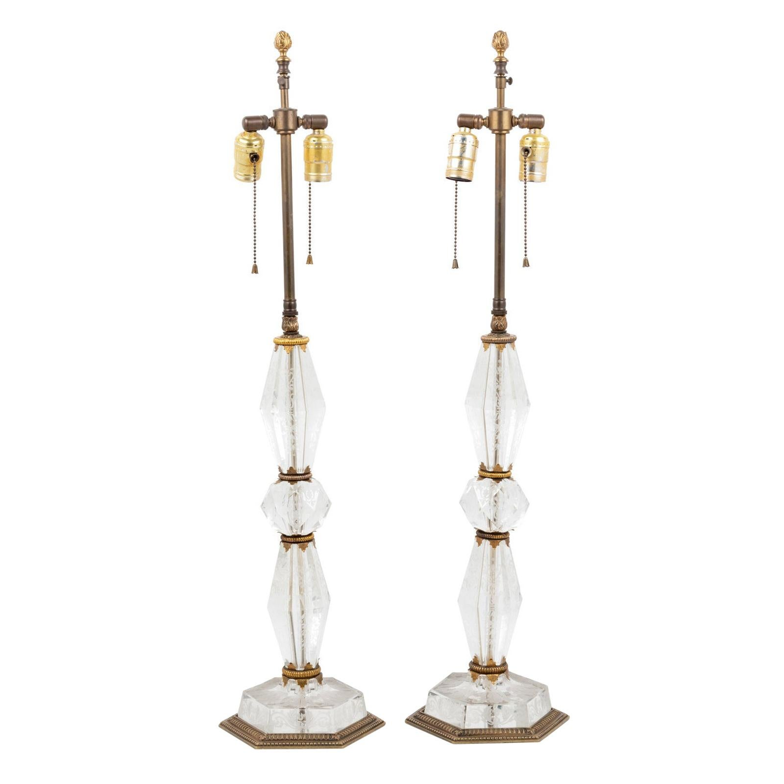 Pair Cut Glass Lamps with Etched Floral Decorations Attributed to E.F. Caldwell