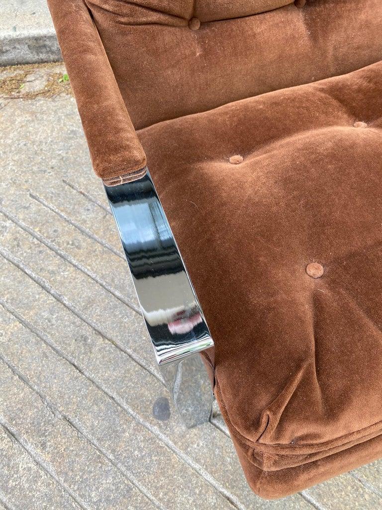 Pair Cy Mann Chrome Lounge Chairs For Sale 3