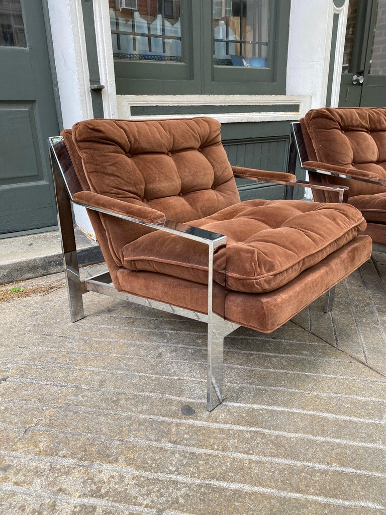 Pair of Cy Mann chrome and upholstered lounge chairs. All original with their brown velvet material! Very comfy!
