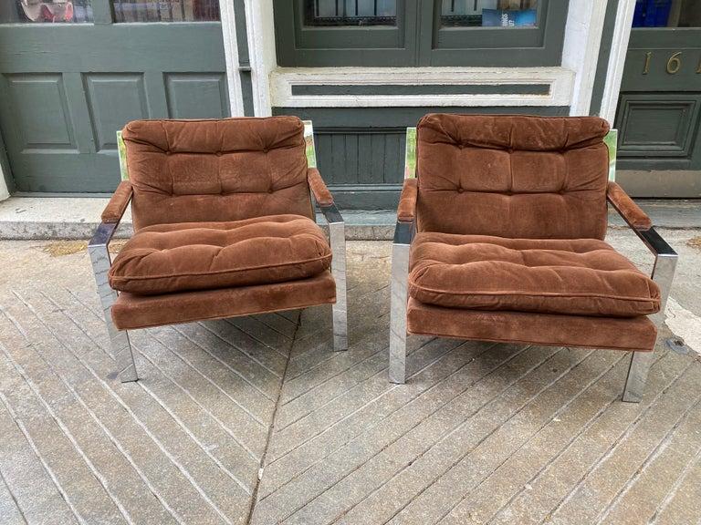 Mid-Century Modern Pair Cy Mann Chrome Lounge Chairs For Sale