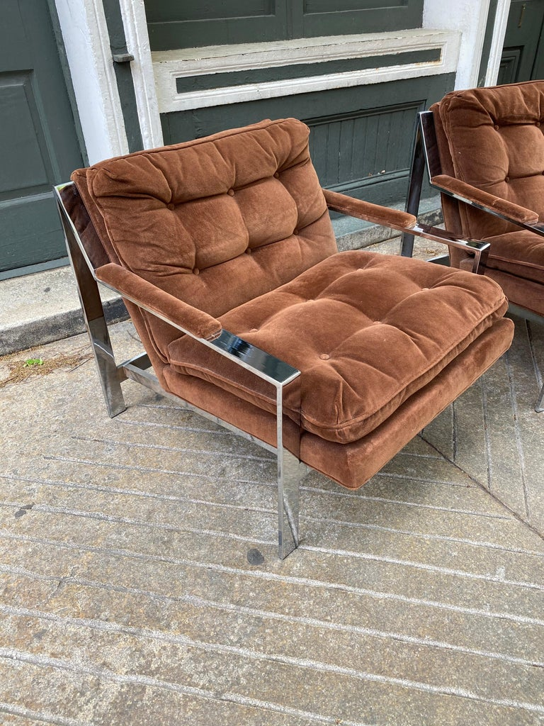 American Pair Cy Mann Chrome Lounge Chairs For Sale