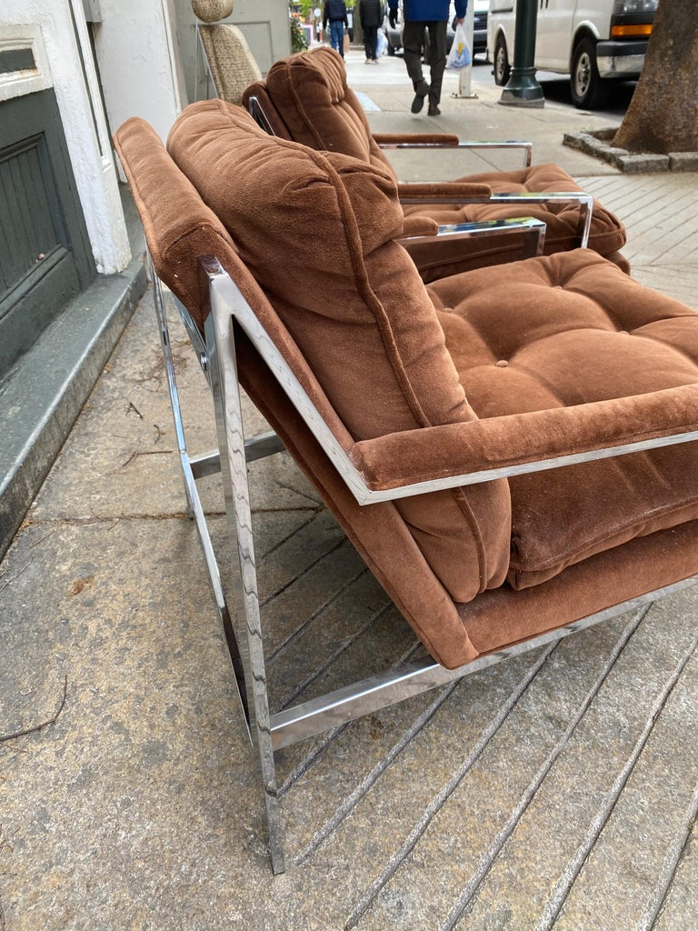 Pair Cy Mann Chrome Lounge Chairs In Good Condition For Sale In Philadelphia, PA