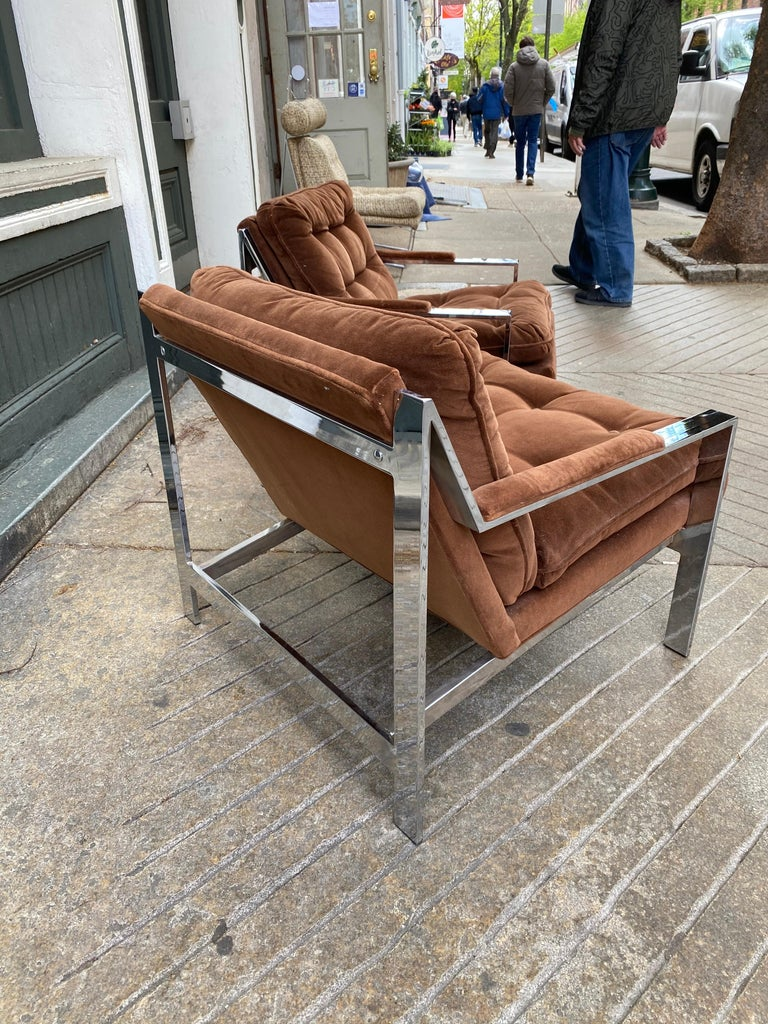 Late 20th Century Pair Cy Mann Chrome Lounge Chairs For Sale
