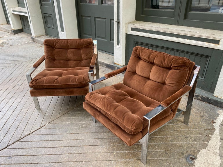 Upholstery Pair Cy Mann Chrome Lounge Chairs For Sale