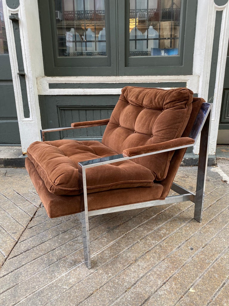 Pair Cy Mann Chrome Lounge Chairs For Sale 1
