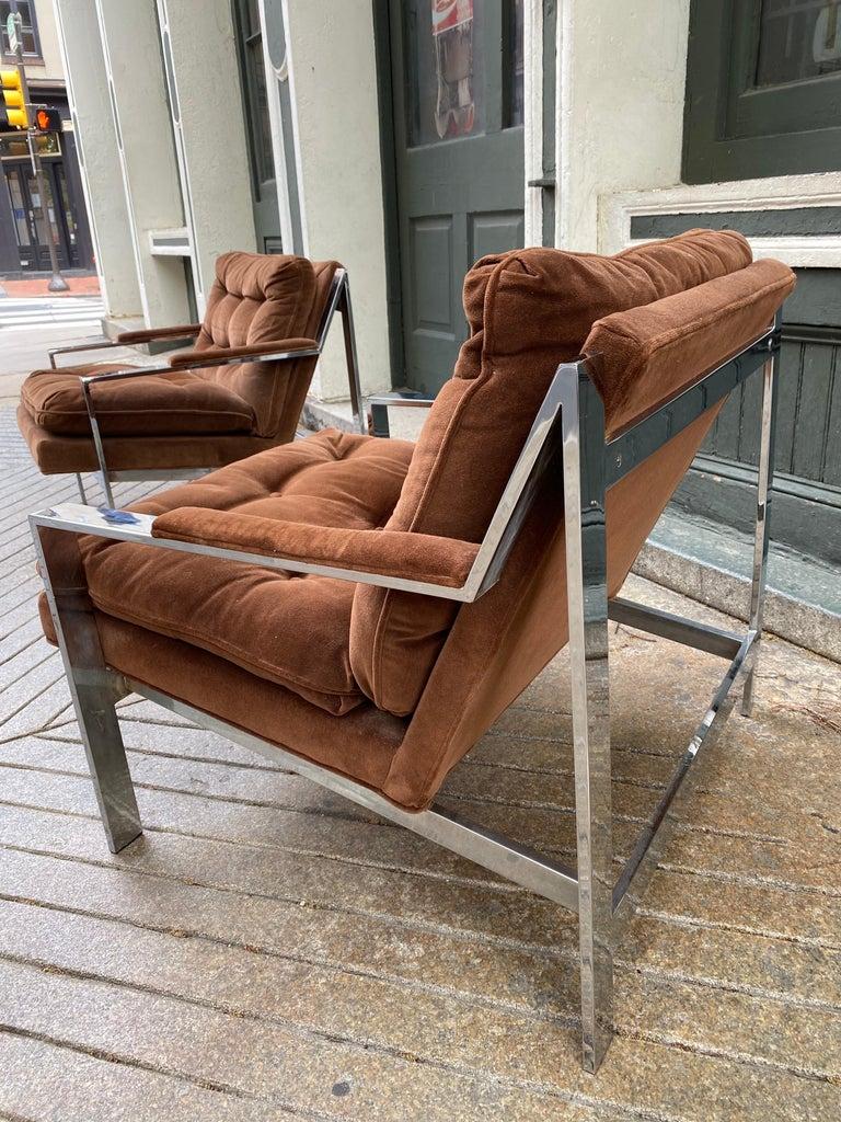 Pair Cy Mann Chrome Lounge Chairs For Sale 2