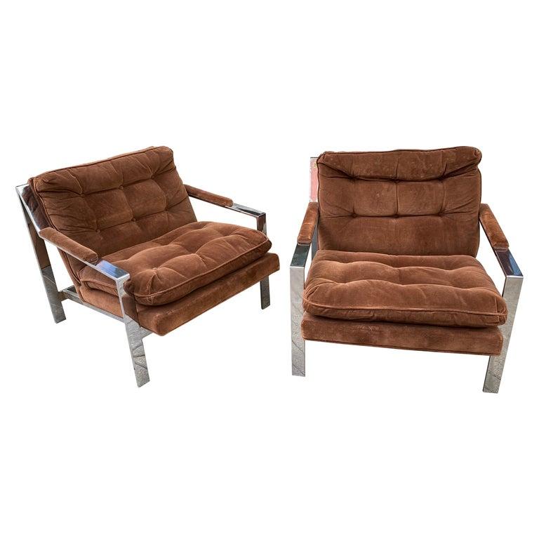 Pair Cy Mann Chrome Lounge Chairs For Sale