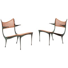 Pair of Dan Johnson Bronze Gazelle Lounge Chairs