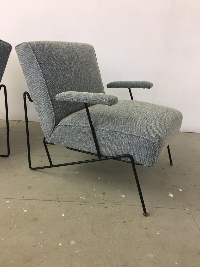 Great pair of Dan Johnson lounge chairs for pacific iron. I sold these to a customer 25 years ago! At the time I had just found a pile of Vintage 1950s fabrics, so I put this fabric on them! They still look great and foam is very good! Front feet