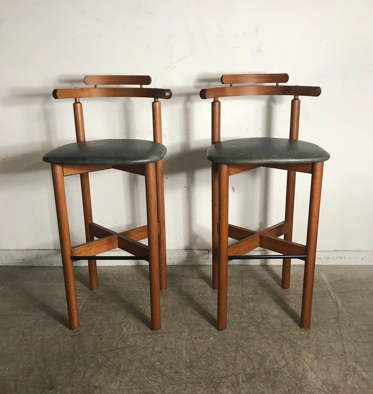 Danish Counter Seat: Pair Of Danish Bar Or Counter Stools, Teak And Leather By
