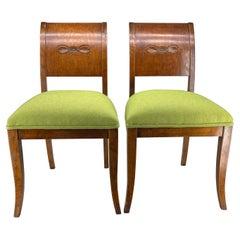 Pair of Danish Biedermeier Grass Green Upholstered Side Chairs