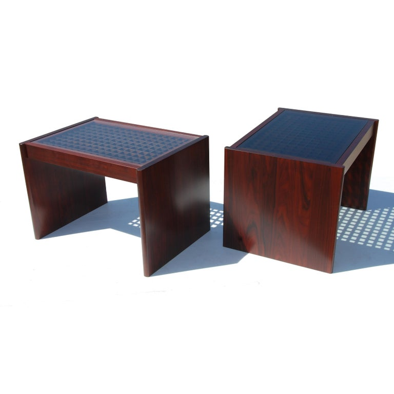 European Pair of Danish Modern Rosewood End Tables by Komfort For Sale