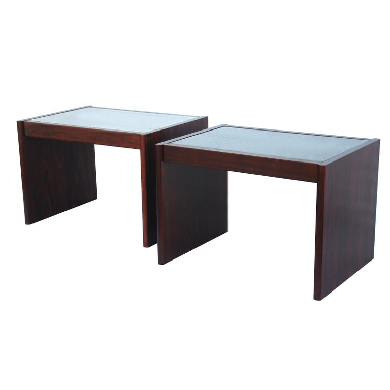 Marquetry Pair of Danish Modern Rosewood End Tables by Komfort For Sale