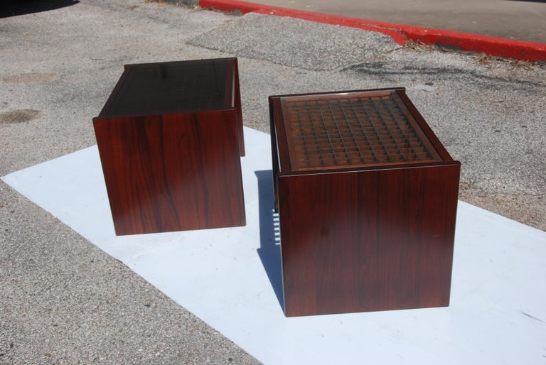 Mid-20th Century Pair of Danish Modern Rosewood End Tables by Komfort For Sale