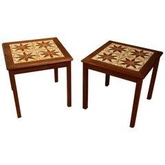 Pair of Danish Modern Teak Ceramic Tile Side Tables