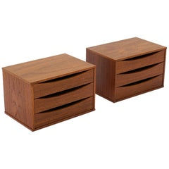 Pair of Danish Modern Teak Jewelry Cabinets by Arne Vodder for Sibast
