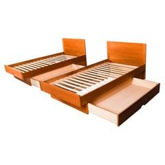 Pair Danish Teak Twin Platform Storage Beds