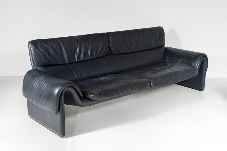 Pair Of Dark Blue Leather Sofa By De Sede Model Ds 2017 Circa 1990 In