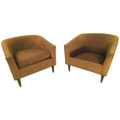 Pair of Dark Green Upholstery Lounge Chairs