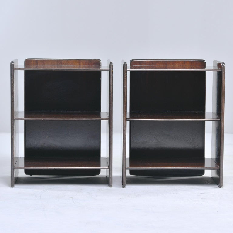 Pair of Dark Walnut Side Tables with Two Open Shelves For Sale 4