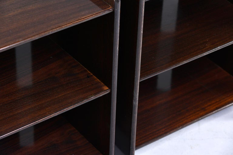 Pair of Dark Walnut Side Tables with Two Open Shelves For Sale 6